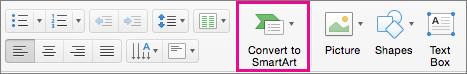 Chuyển đổi thành SmartArt trong PowerPoint cho Mac