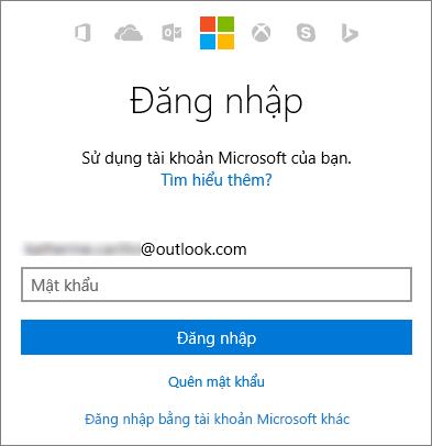 Ảnh chụp màn hình cho thấy màn hình đăng nhập tài khoản Microsoft
