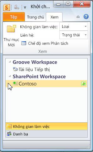 Không gian làm việc SharePoint trong Thanh khởi động