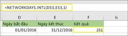 = NETWORKDAYS. INTL (D53, E53, 1) và kết quả: 261