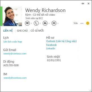 Ví dụ của một thẻ liên hệ bạn có thể mở bằng cách bấm vào hình ảnh của người chú thích trong Word.