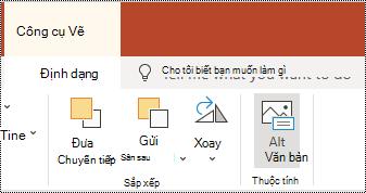 Nút văn bản thay thế trên dải băng cho hình dạng và video trong PowerPoint Online.