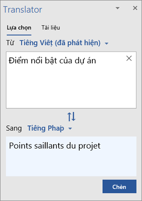 Pa nen Công cụ dịch với các từ đã được dịch từ Tiếng Anh sang Tiếng Pháp