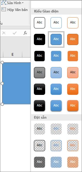Bộ sưu tập kiểu hình cho thấy các kiểu đặt sẵn mới trong Excel 2016 cho Windows