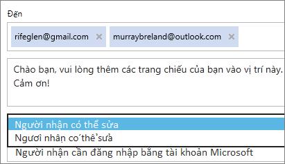 Chọn các tùy chọn chỉ xem và yêu cầu đăng nhập trong email thư mời