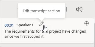 Chọn chỉnh sửa phần Transcript
