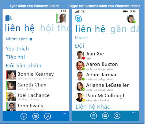 So sánh song song giữa Lync và Skype for Business cho Windows Phone