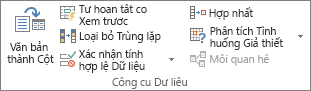 Nhóm Công cụ Dữ liệu trên tab dữ liệu