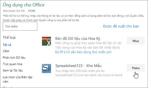 Ảnh chụp màn hình cho thấy bổ trợ Office trang nơi bạn có thể chọn hoặc tìm kiếm cho bổ trợ Excel.