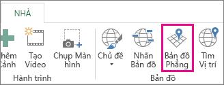 Nút Bản đồ Phẳng trên tab Trang đầu của Power Map