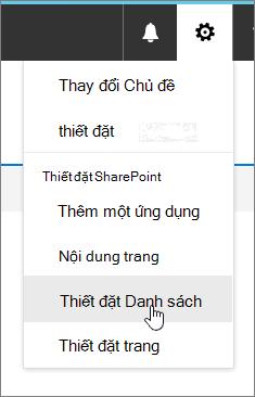 Thiết đặt menu với thiết đặt danh sách được tô sáng