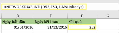 = NETWORKDAYS. INTL (D53, E53, 1, MyHolidays) và kết quả: 252