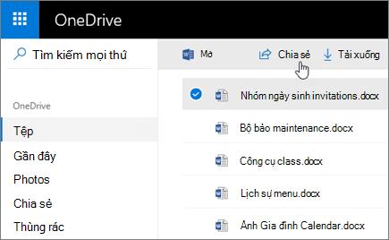 Ảnh chụp màn hình tệp đã chọn và nút Chia sẻ trong OneDrive.