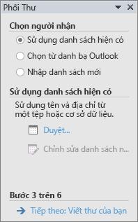 Trong Word, ngăn tác vụ phối thư mà sẽ mở ra khi bạn chọn trình hướng dẫn từng bước phối thư trong nhóm phối thư