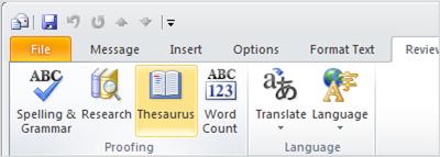 Biểu tượng Từ điển đồng nghĩa trong Ribbon Outlook