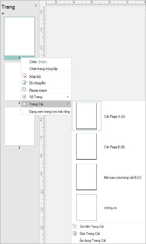 Một ảnh chụp màn hình hiển thị tùy chọn menu lối tắt được chọn cho trang cái với các trang cái tùy chọn sẵn dùng.