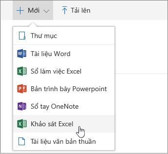 Menu mới, lệnh khảo sát trong Excel
