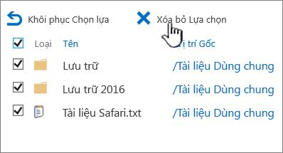 2016 2 cấp thùng rác SharePoint với tất cả các mục được chọn và xóa bỏ được tô sáng