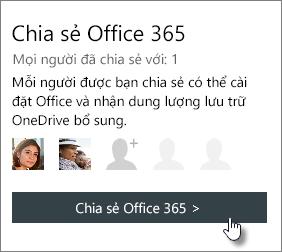 """Ảnh chụp màn hình của phần """"Chia sẻ Office 365"""" trong trang tài khoản của tôi hiển thị thuê bao được chia sẻ với người 1."""