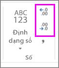 tăng hoặc giảm số lượng vị trí thập phân trên định dạng số