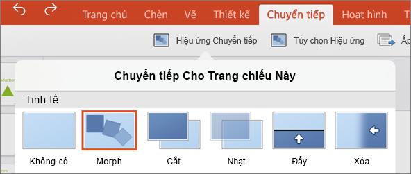 Hiển thị chuyển tiếp biến trong menu chuyển tiếp trong PowerPoint 2016 cho iPad