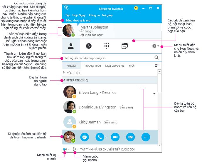 Cửa sổ Liên hệ trong Skype for Business, được vẽ sơ đồ