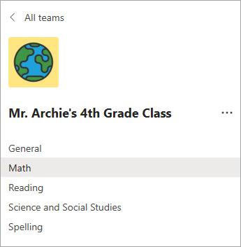 Các kênh trong nhóm lớp của giáo viên lớp 4.