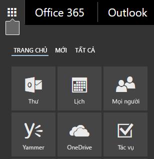 Công cụ khởi động ứng dụng Office 365 hiển thị các lát xếp Thư, Lịch, Mọi người, Yammer và OneDrive