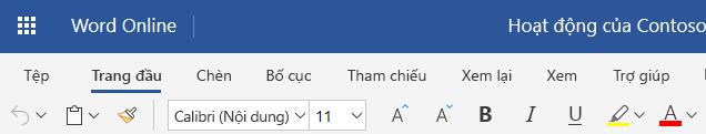 Ribbon đơn giản hóa trong Word Online