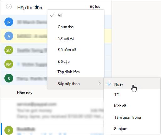 Ảnh chụp màn hình menu Lọc với Sắp xếp theo được chọn