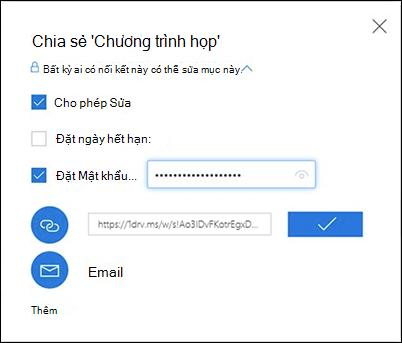 Ảnh chụp màn hình tùy chọn Lấy Liên kết trong hộp thoại Chia sẻ trong OneDrive
