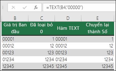 """Ví dụ về việc sử dụng TEXT để định dạng các số 0 đứng đầu.  =TEXT(A2,""""00000"""")"""