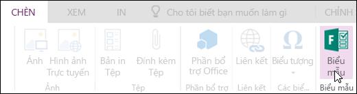 Tùy chọn chèn biểu mẫu trong OneNote cho web