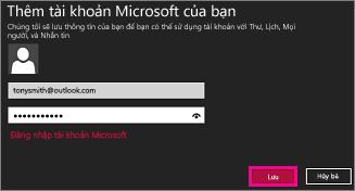 Trang Thêm tài khoản Microsoft của bạn trong Windows 8 Mail