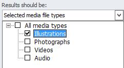 Trong hộp Kết quả Phải Là, hãy chọn các loại phương tiện bạn muốn đưa vào kết quả tìm kiếm