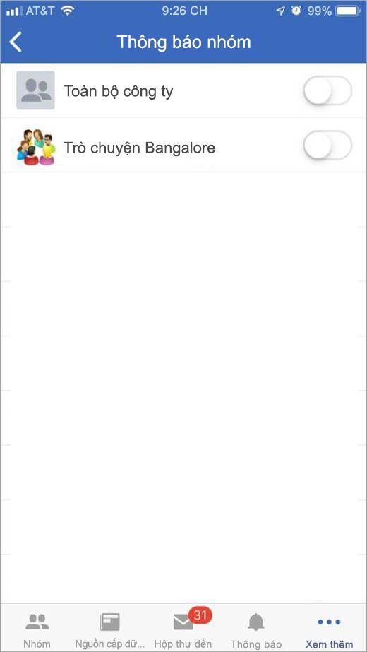 iOS Yammer trang để chọn Nhóm để nhận được thông báo từ