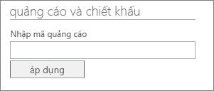 Hình ảnh của hộp văn bản Nhập mã quảng cáo