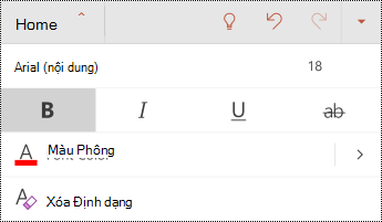 Menu phông trong PowerPoint for Android.