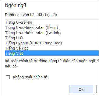 Ảnh của danh sách Đặt Ngôn ngữ Soát lỗi trong Word Web App.