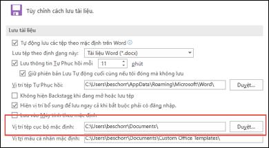 Các tùy chọn Lưu trong Word, hiển thị cài đặt thư mục làm việc mặc định