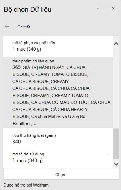 Ảnh chụp màn hình chi tiết kết quả cà chua có màu cà chua trong Bộ chọn Dữ liệu.