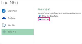 Tùy chọn Lưu vào OneDrive