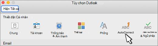 Nút tự sửa trong Outlook cho Mac
