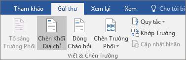 Như một phần của phối thư Word, trên tab gửi thư, trong nhóm trường viết & chèn, chọn khối địa chỉ.