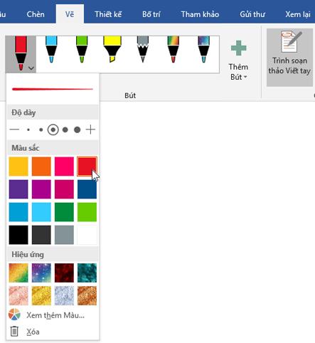 Hiển thị Tab Vẽ trong Word 2016 với phần Bút được tô sáng.