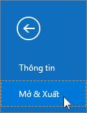 Ảnh chụp màn hình lệnh Mở & Xuất trong Outlook 2016
