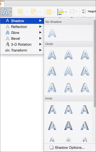 Các tùy chọn đổ bóng trên menu hiệu ứng văn bản