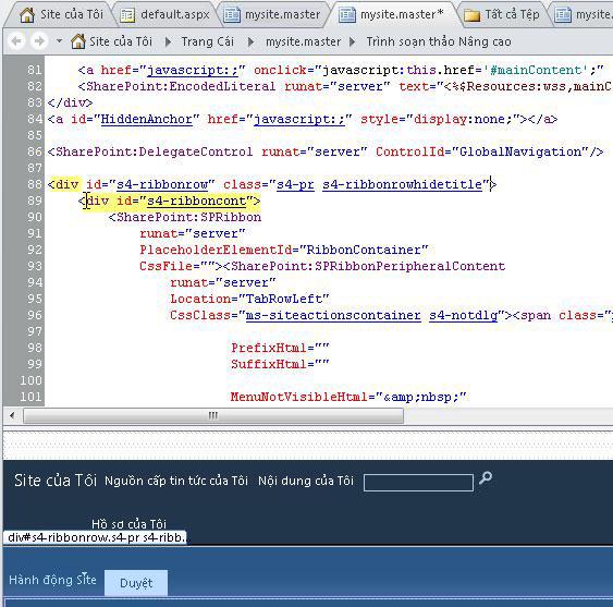 Sử dụng thẻ Div khi tùy chỉnh các trang cái của Site của Tôi