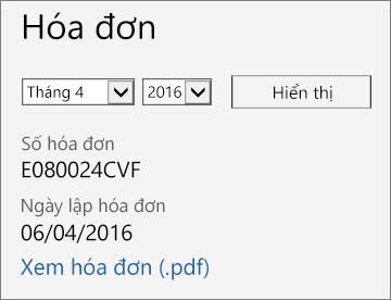 Ảnh chụp màn hình mục Hóa đơn trên trang Chi tiết Hóa đơn trong Trung tâm Quản trị Office 365.