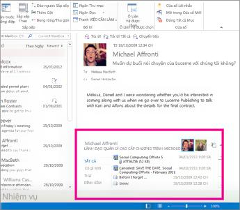 Trình kết nối Xã hội Outlook sau khi được mở rộng